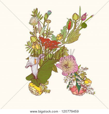 Floral Alphabet. Letter K