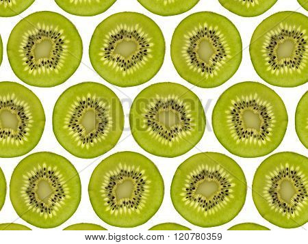 Sliced Kiwi Fruit Pattern, Halved Kiwis