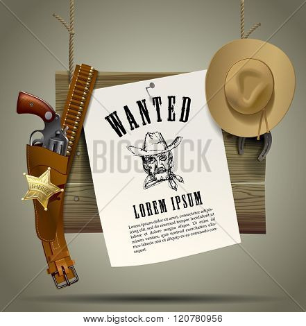 Wild West wood signboard with a sheet and cowboy accessories suspended on a rope. Wild West Relay Poster. Vector illustration