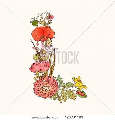Floral Alphabet. Letter L