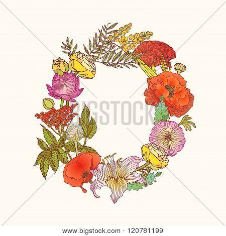Floral Alphabet. Letter O