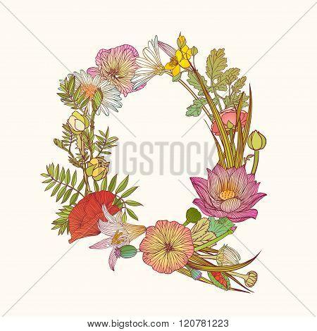 Floral Alphabet. Letter Q