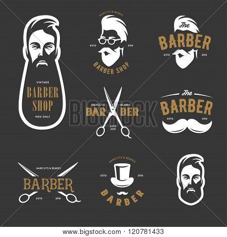 Set of vintage barber shop vector emblems, label, badges and design elements.