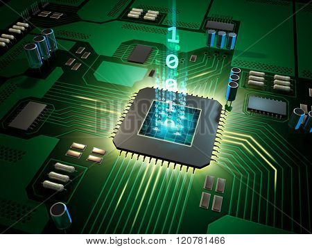 Central Processing Unit on a printed circuit board. Digital illustration.