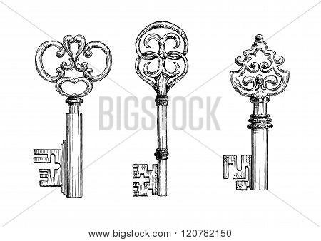 Vintage medieval keys sketches set