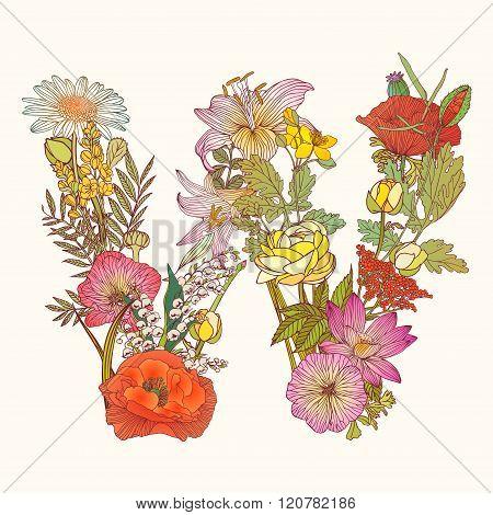 Floral Alphabet. Letter W