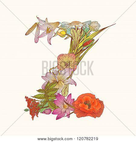 Floral Alphabet. Letter Z