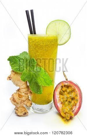 Refreshing passion fruit juice with mint and ginger