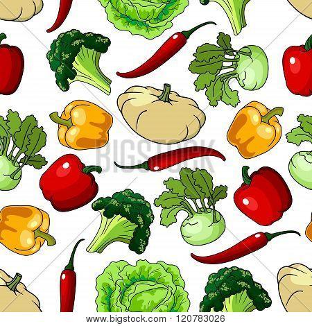 Farm healthy vegetables seamless pattern