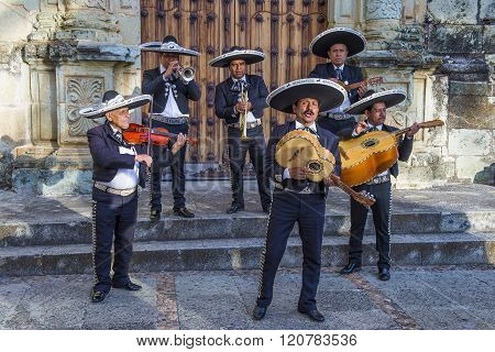 OAXACA MEXICO - NOV 02 : Mariachis perform during the carnival of the Day of the Dead in Oaxaca Mexico on November 02 2015. The Day of the Dead is one of the most popular holidays in Mexico
