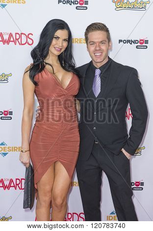 LAS VEGAS - JAN 23 : Adult film actress Jasmine Jae (L) and adult film actor Ryan Ryder attend the 2016 Adult Video News Awards at the Hard Rock Hotel & Casino on January 23 2016 in Las Vegas Nevada.