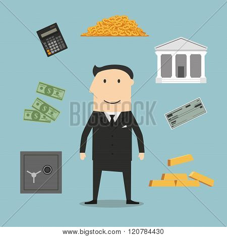 Banker profession and financial icons