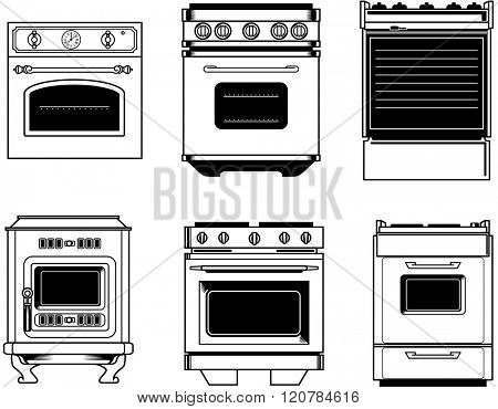 front view of six black and white isolated vintage ovens