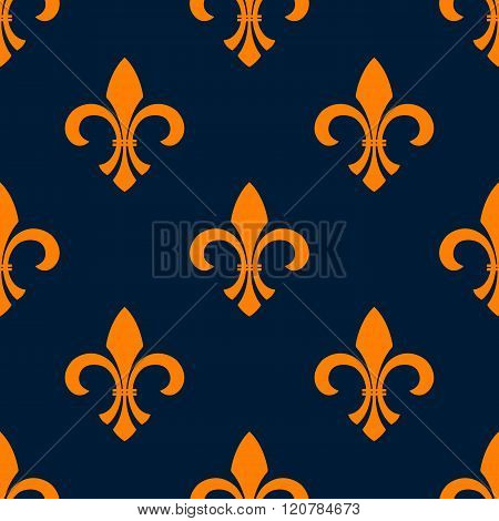 Seamless orange fleur-de-lis floral pattern