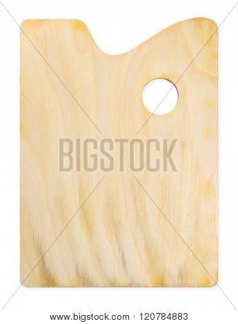 Wooden rectangular palette isolated on white background.