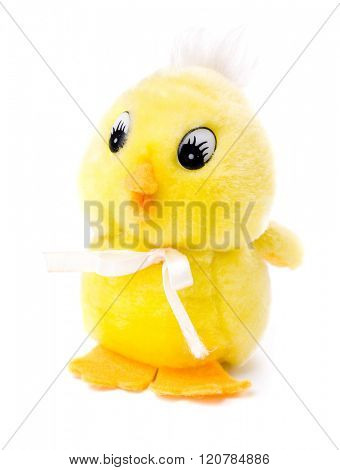 Yellow chicken toy isolated on white background.