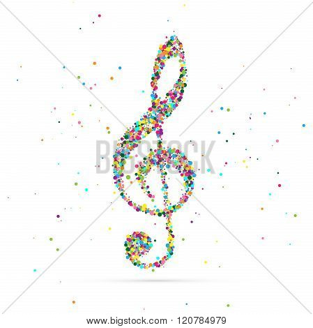 treble clef symbol consisting of colored particles