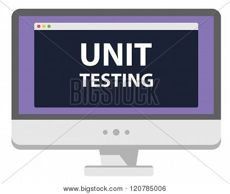 Web development illustration computer display unit testing isolated on white
