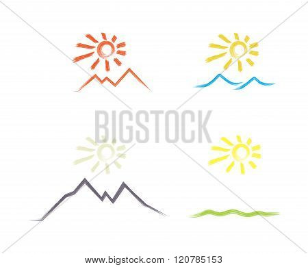 set of vector icons of the sun over the desert, the sea, meadows, mountains, painted with a brush
