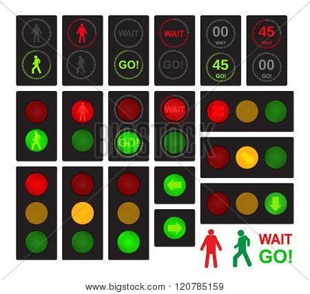 vector traffic lights for cars and pedestrians