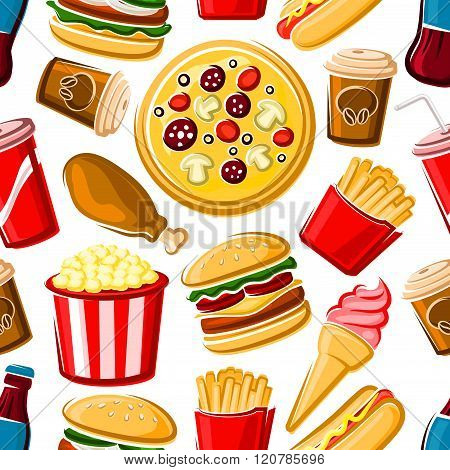 Seamless pattern of fast food dishes and drinks