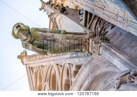 Gargoyle Of Gothic Church In Carcassone