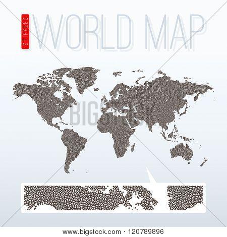 Stippled world map - vector illustration