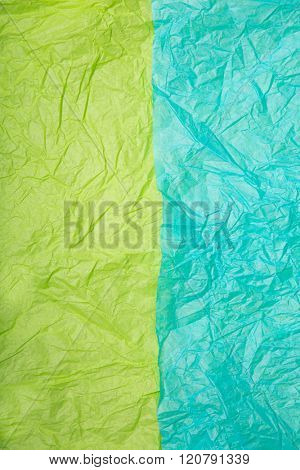 Two colorful wrinkled paper textures, lime green and aqua blue colors