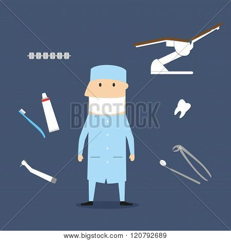 Dentist profession icons and symbols