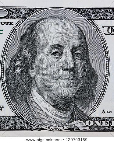dollar bills. detail. franklin
