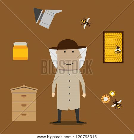 Beekeeper man and beekeeping objects