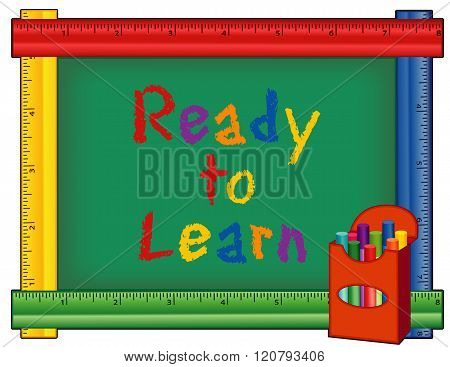 Ready To Learn, Ruler Blackboard, Box Of Chalk