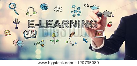 Businessman Drawing E-learning Concept