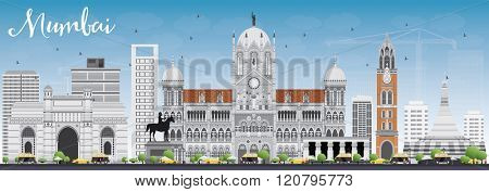 Mumbai Skyline with Gray Landmarks and Blue Sky. Vector Illustration. Business Travel and Tourism Concept with Historic Buildings. Image for Presentation Banner Placard and Web Site.
