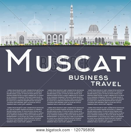 Muscat Skyline with Gray Buildings and Blue Sky. Vector illustration. Business Travel and Tourism Concept with Copy Space. Image for Presentation Banner Placard and Web Site.