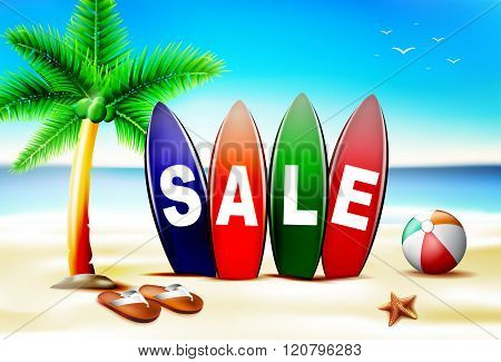 Summer Sale Text in Surf Board in Front of Seashore