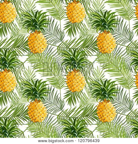 Tropical Palm Leaves and Pineapples Background - Seamless Pattern for design, scrapbook - in vector