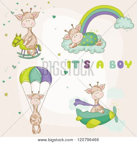 Baby Giraffe Set - Baby Shower or Arrival Card - in vector