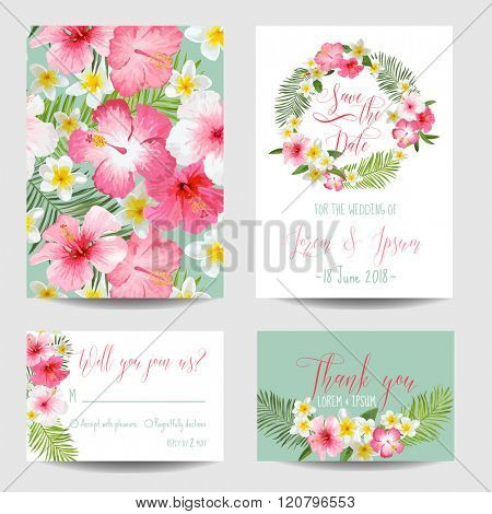 Save the Date Card - Tropical Flowers - for Wedding, Invitation, Party - in vector