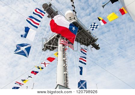 Ships Mast with colors displayed for ceremony ** Note: Visible grain at 100%, best at smaller sizes