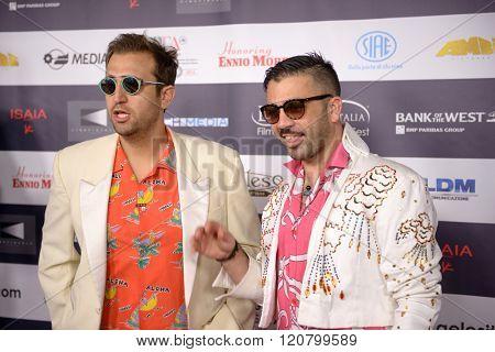 LOS ANGELES, CALIFORNIA - FEBRUARY 22, 2016: The comedic duo Pio e Amedeo at the Los Angeles Italian Film Festival.