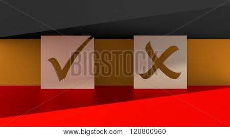 Check mark on germany flag background