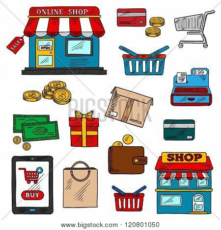 Shopping, business and retail color icons