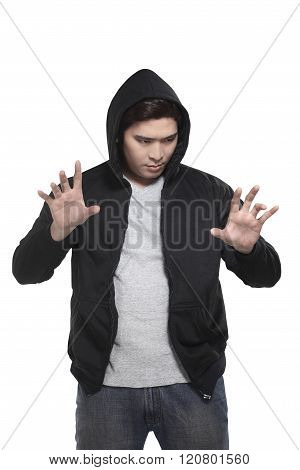 Man In Hoodie Typing Something