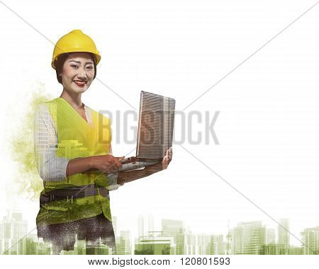 Double Exposure Of Worker Woman