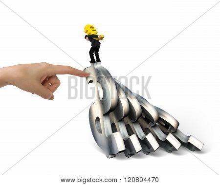 Man Carrying Euro Sign Balancing Falling Dollar Symbols Hand Helping