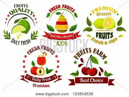 Organic food emblems with fresh fruits and juice
