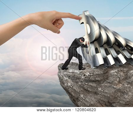 Businessman Stopping Falling Dollar Symbols With Woman Hand Helping