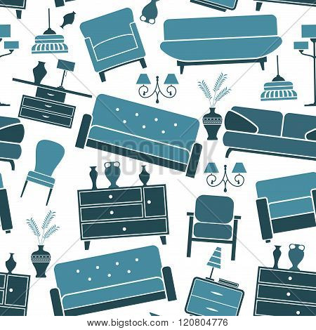 Blue retro interior seamless pattern
