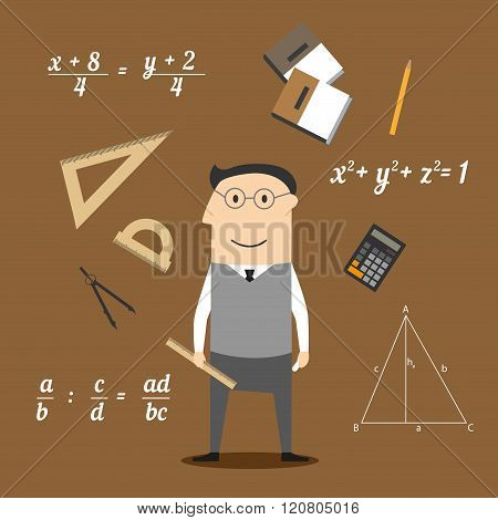 Mathematician or teacher and education icons